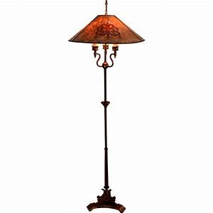 Antique floor lamp with mica shade signed mutual sunset for Antique floor lamp with nightlight in base