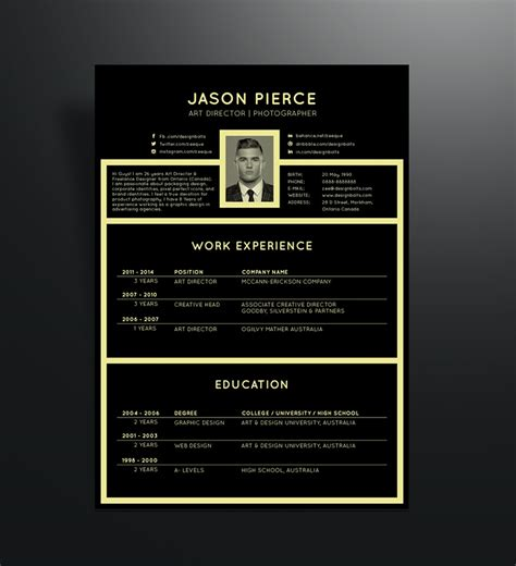 black elegant resume cv design template  art director photographer good resume