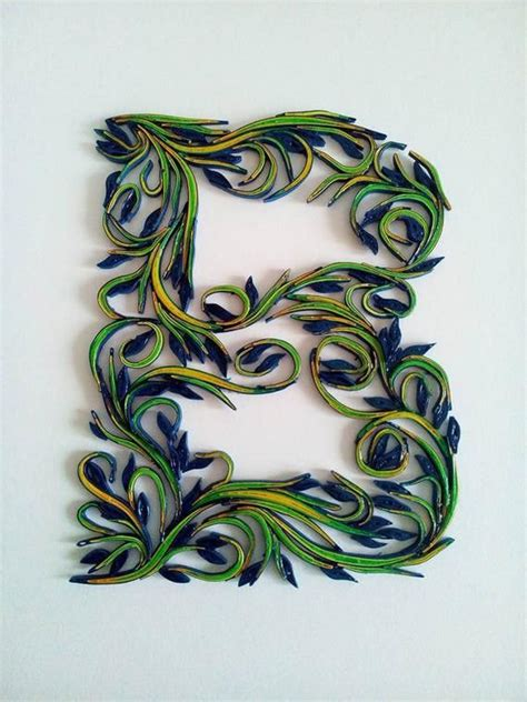 paper letter  quilling  monogram nursery  wall art waved green blue quilled initial