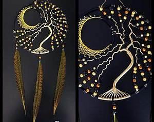 Tuto Attrape Reve Arbre De Vie : arbre de vie attrape r ves lune noir et dor capteurs de ~ Voncanada.com Idées de Décoration