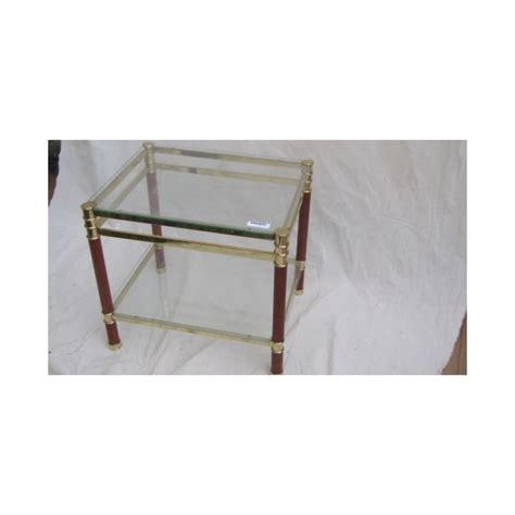 pied de canape bout de canape en verre et pieds bois et metal doré haut