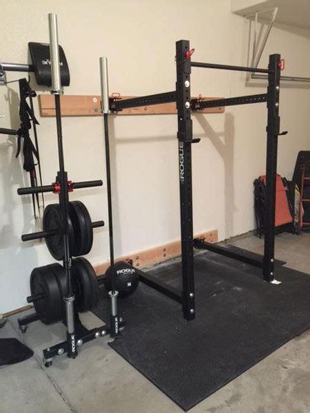 rogue equipped garage gym  folding power rack garage gyms