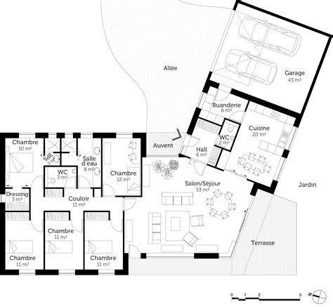 plan de maison plain pied 4 chambres avec garage plan maison plain pied en v ooreka
