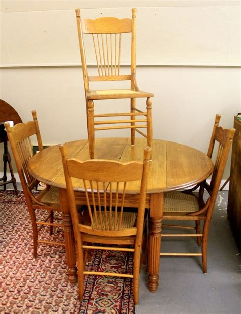 pressback chairs and table found in ithaca 187 antique oak dropleaf table four