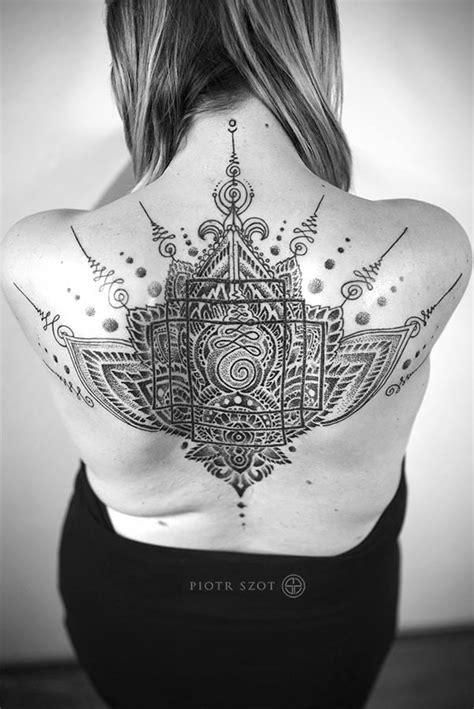 Dotwork Lotus Sacred Geometry Back Tattoo | Amazing Tattoo