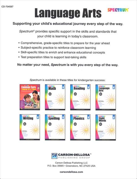 Spectrum Language Arts 2015 Grade K (002275) Details  Rainbow Resource Center, Inc