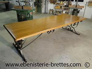 Pied En Fer Forgé : table bois fer forge ~ Teatrodelosmanantiales.com Idées de Décoration
