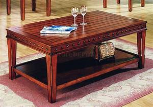 Pine solid wood stylish 3pc coffee table set w nail head for Solid wood coffee table set