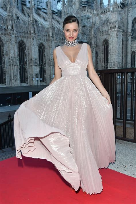 miranda kerr wearing pink metallic gown milan fashion week popsugar fashion australia