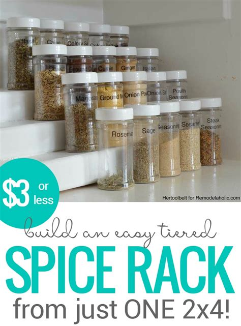 remodelaholic   build  easy tiered spice rack
