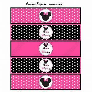 Minnie mouse printable water bottle labels pink for Free printable minnie mouse water bottle labels