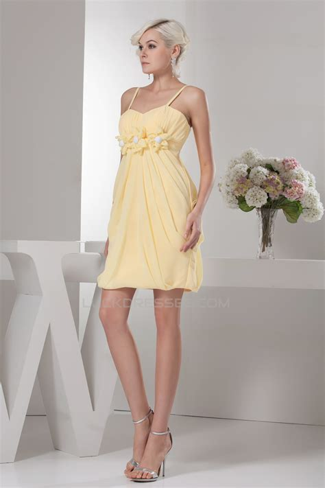 Chiffon Spaghetti Straps Short Yellow Bridesmaid Dresses ...