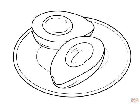 dibujo de aguacate en  plato  colorear dibujos  colorear imprimir gratis