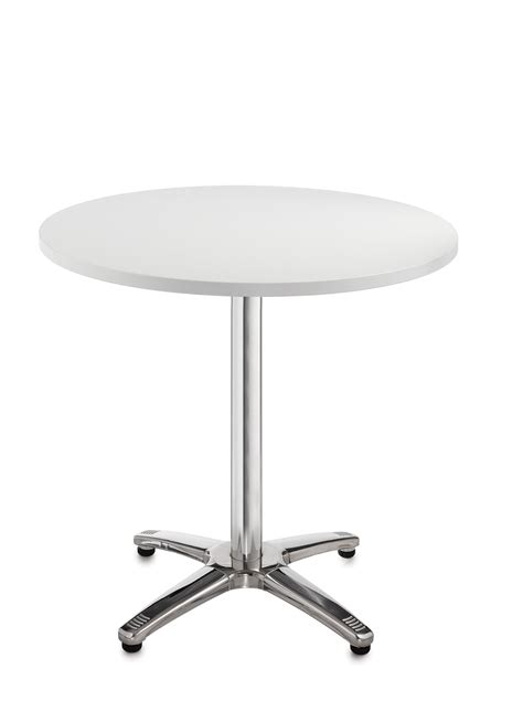 ideal depth and table for round roma 800mm round meeting leisure table in white and chrome