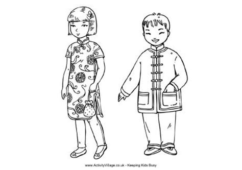 chinese children colouring page