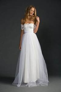 ivory strapless a line lace and tulle floor length simple With simple tulle wedding dress