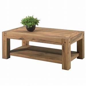 Table Basse Bois Foncé : table basse double plateau en bois brute pour salon cosy ~ Teatrodelosmanantiales.com Idées de Décoration