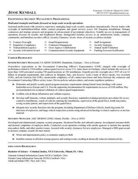 exle security manager resume free sle