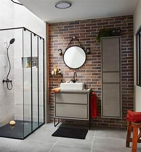 une salle de bains au style vintage industriel leroy merlin With salle de bain industrielle
