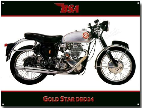 Bsa Goldstar Dbd34 Motorcycle Metal Sign.vintage Bsa