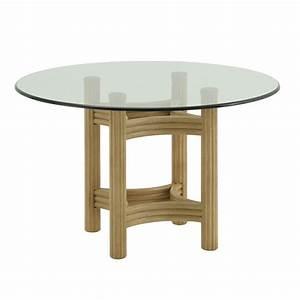Dessus De Table En Verre : table ronde verre et rotin brin d 39 ouest ~ Teatrodelosmanantiales.com Idées de Décoration