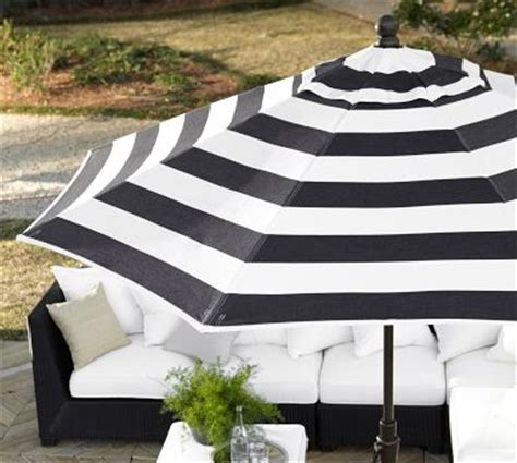 black and white striped patio umbrella linear thinking www stylebeatblog