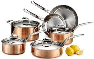 lagostina qsa martellata tri ply hammered stainless steel copper oven safe cookware set