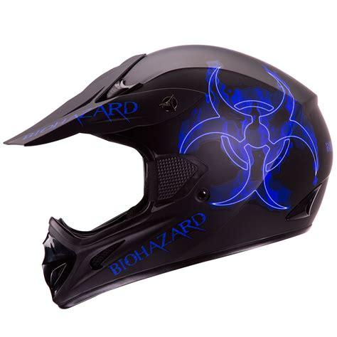 flat black motocross helmet blue biohazard matte black motocross atv dirt bike helmet