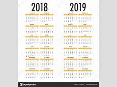 2018 年和 2019年英文日历,每周从星期一开始 — 图库矢量图像© atthameeni #163882006