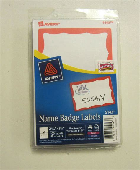 avery dennison red border badges  tags id labels