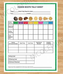 Cookie booth tally sheet cookies can be customized for Girl scout order form template