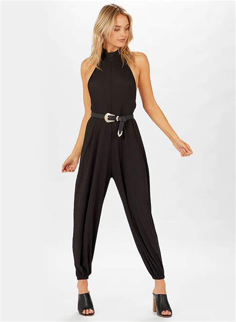 womens casual jumpsuits casual halterneck backless solid jumpsuit oasap com