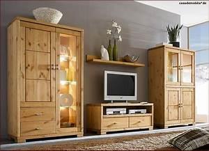 Wohnzimmermbel Wohnwand Holz Kiefer Massiv Gebeizt Gelt