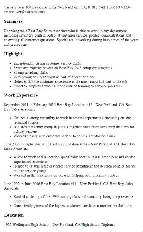 Resume Template Buy by Best Buy Sales Associate Resume Template Best Design