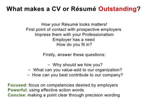of resume and cv writing