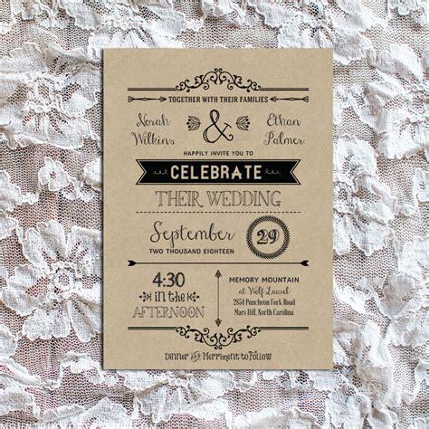 rustic wedding invitation templates vintage rustic diy wedding invitation template