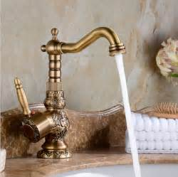 antique copper kitchen faucet high quality luxury antique bronze copper carving deck mounted kitchen faucet bathroom basin
