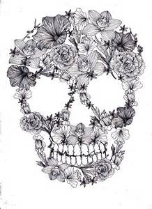 Flower Skull Coloring Pages for Adults