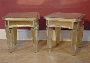 Pair mirrored coffee side tables table mirror furniture for Mirrored coffee table and end tables