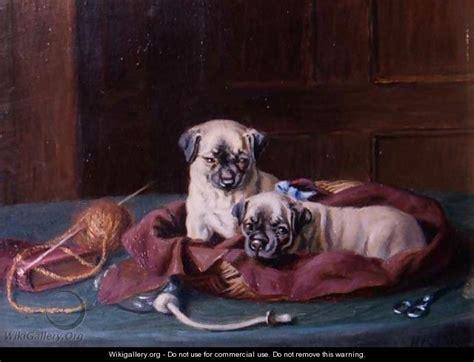 Ee  Pug Puppies Ee   In A Basket Horatio Henry Couldery