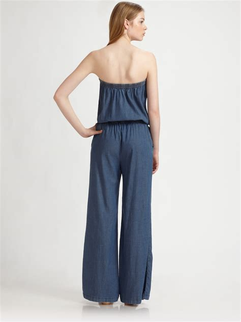 joie jumpsuit joie joan drapey stretch denim jumpsuit in blue lyst