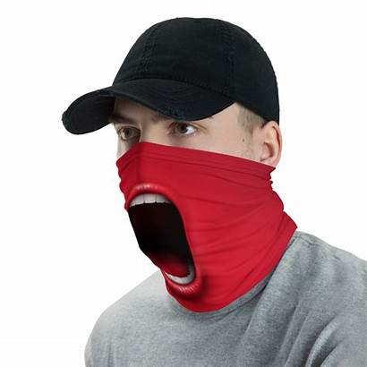 Face Mask Funny Mouth Screaming Scarf Neck