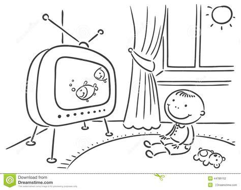 dans sa chambre enfant regardant la tv dans sa chambre illustration de