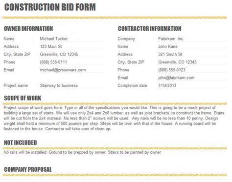 contractor bid construction bid template excel excel about