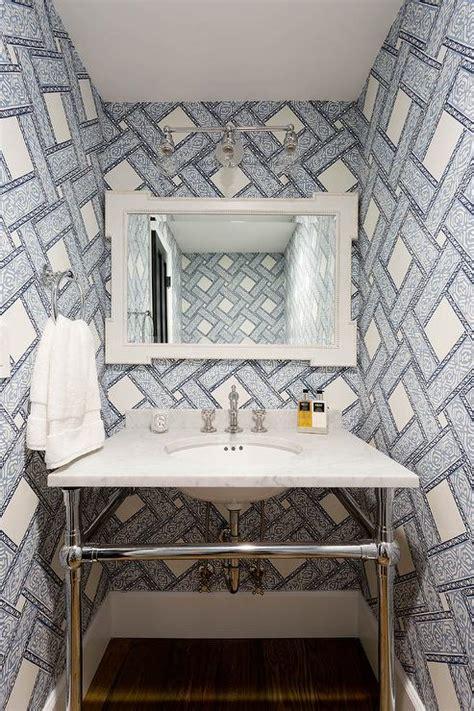 ivory  blue powder room  french vanity