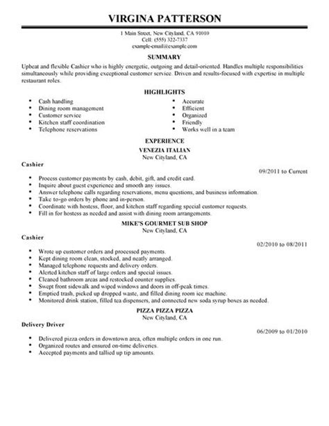 Cashier Manager Description Resume by Cashier Resume Exle Restaurant Bar Sle Resumes Livecareer