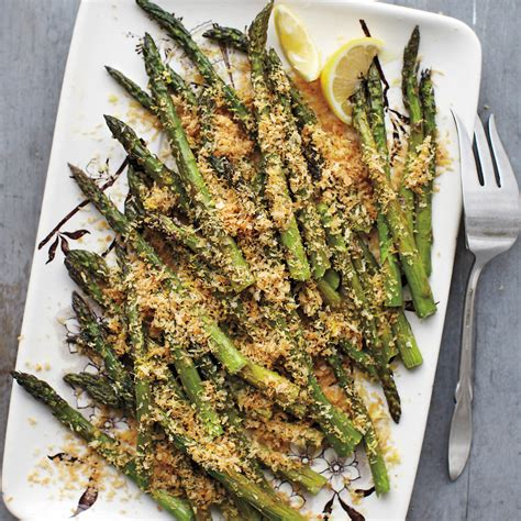 roasted asparagus  lemony breadcrumbs