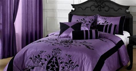 7 Pc Comforter Set Purple & Black King Size With Matching