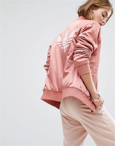 Adidas Originals | adidas Originals Logo Back Bomber Jacket In Dusky Pink