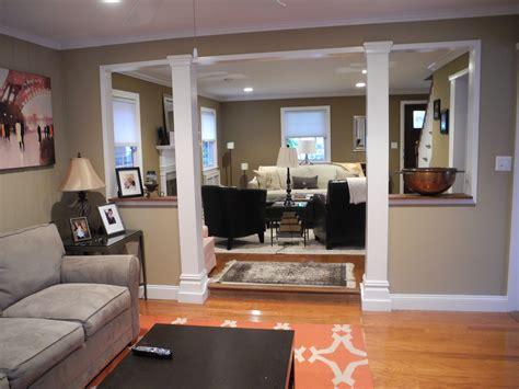 neutral family room  pops  orange opens